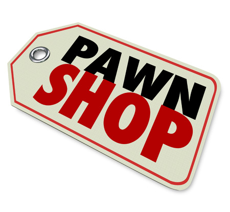 resale: Pawn Shop words on a price tag or sticker to illustrate selling used merchandise in a resale store Stock Photo