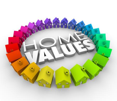 Startseite Werte Worte in 3D-Buchstaben umgeben von Häusern, um zu veranschaulichen den Kauf eines Hauses als eine Investition in Bewegung und Verlagerung mit Darlehen oder Hypotheken