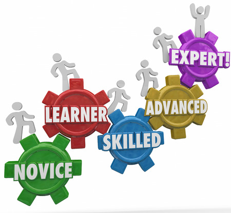 ascending: Expertise words on gears as people or workers march up to gain experience and knowledge including novice, learner, skilled, advanced and expert Stock Photo