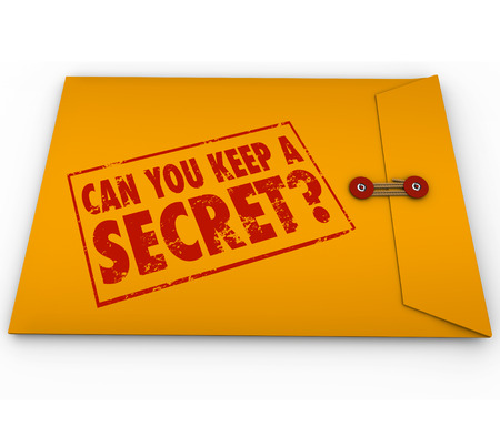 discreet: Can You Keep A Secret words and question stamped on a yellow confidential, classified envelope