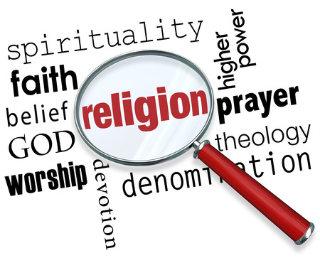 the devotion: Finding Religion word with magnifying glass with related terms like spirituality, faith, belief, god, worship, devotion and prayer