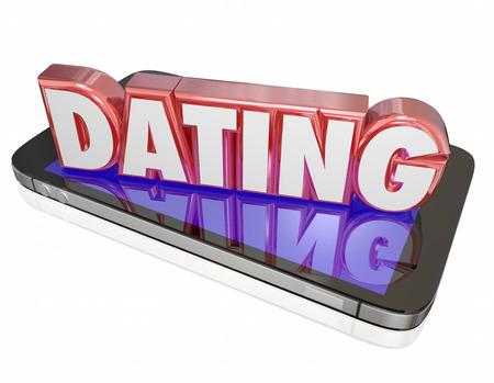 mujer enamorada: Encuentros palabra en letras rojas 3d en un tel�fono inteligente o dispositivo m�vil para ilustrar hacer una conexi�n con un nuevo inter�s rom�ntico en l�nea en un mundo virtual