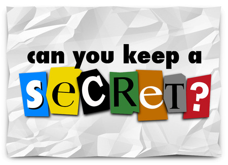 discreet: Can You Keep a Secret question in cut out letters on a ransom note as a message of secrecy, privacy and classified or confidential information