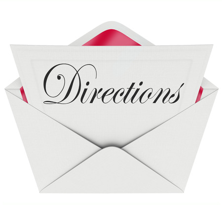 venue: Directions word on a note or message inside envelope telling you where the location is for a party, event or venue