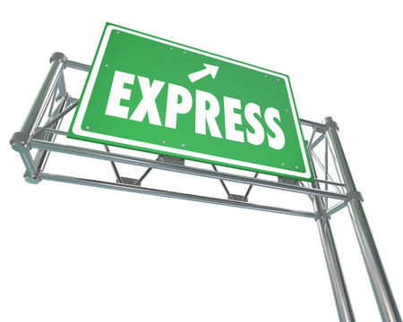 express lane: Express word on a green highway or freeway direciton sign pointing toward fast or speedy service, delivery or travel