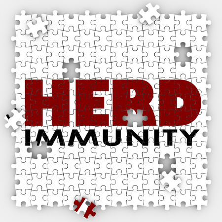 Herd Immunity words on puzzle pieces to illustrate vaccination to protect society or community to be immune from disease or sickness