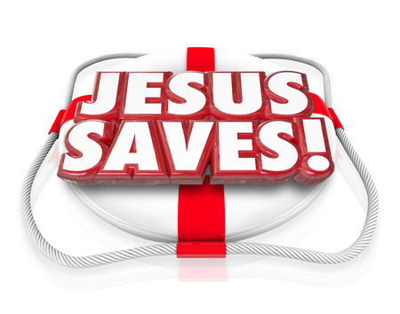life preserver: Jesus Saves 3d words in red letters on a life preserver to illustrate saving grace of believing in religion such as the Christian faith