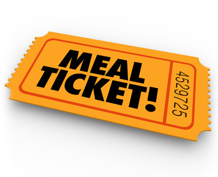 Meal Ticket words on a raffle or contest pass to illustrate winning free service or support for eating or dining at a restaurant