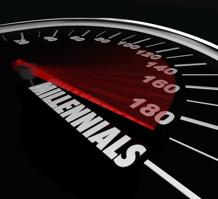 Millennials Wort auf ein Tachometer zur Jugend zu veranschaulichen, und in jungen Jahren von Menschen in die Generation Y, die in Technologie-versierte und der sozialen Kommunikation und Vernetzung sind