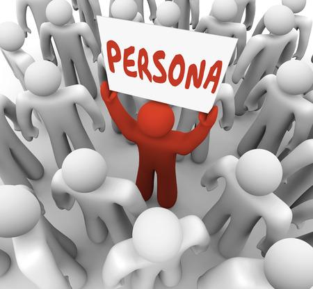 characterize: Palabra persona en un letrero en poder de una persona �nica o diferente en un grupo o multitud para ilustrar las necesidades especiales o de fondo de un cliente o miembro de la audiencia objetivo