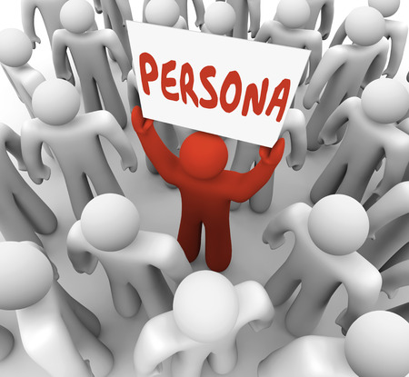 characterization: Persona word on a sign held by a unique or different person in a group or crowd to illustrate the special needs or background of a customer or targeted audience member