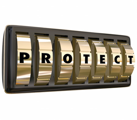 precaution: Protect word in letters on gold safe or lock dials to illustrate taking steps to ensure security and safety through precaution and insurance Stock Photo