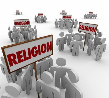 desacuerdo: Palabra religión en signos y personas que se reúnen en torno a como separado y grupos divididos para ilustrar diferentes creencias, religiones y seguidores Foto de archivo