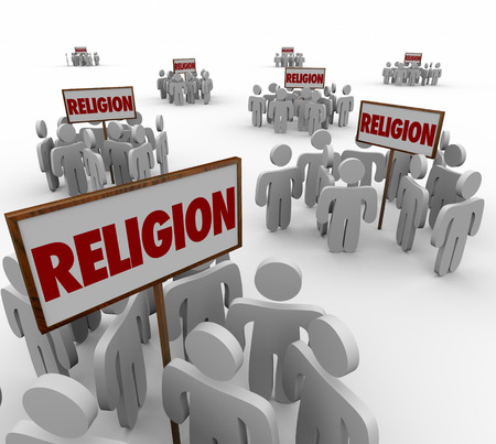 worshipers: Religion word in signs and people gathering around as separate and divided groups to illustrate different beliefs, faiths and followers