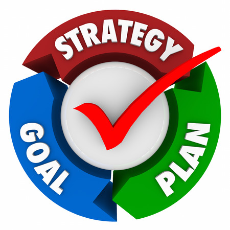 scheming: Strategy, Goal and Plan words on arrows in a circular pattern or diagram to illustrate steps taken to achieve a mission or objective and reach success