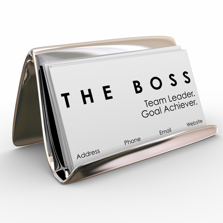 succeeding: The Boss words on a stack of business cards in a holder to illustrate the top manager, leader, director, executive, president or chief employee Stock Photo