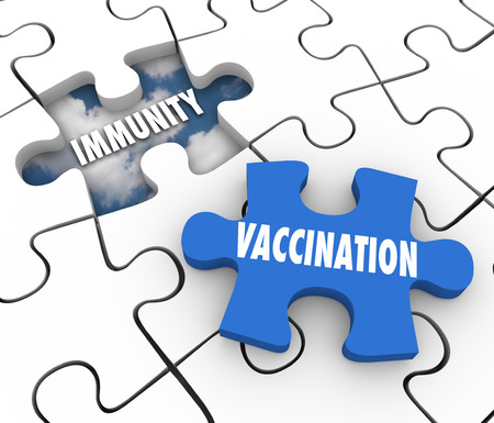 Vaccination word on puzzle piece and hole with Immunity to illustrate preventing disease and sickness with medicine and good health care Stockfoto