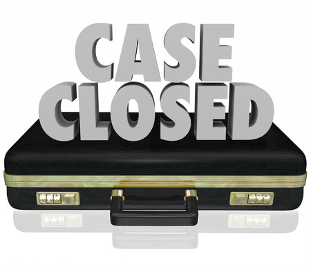 being the case: Case Closed words in 3d letters on a black leather briefcase to illustrate a lawsuit or challenge being finished, completed, concluded, dismissed or decided Stock Photo