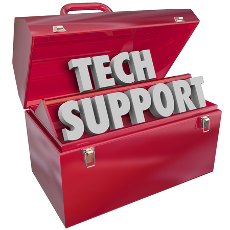 it tech: Tech Support words in 3d letters in a red metal toolbox to illustrate an information technology assistance or help role