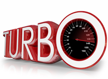 turbocharger: Turbo word in red 3d letters and a speedometer with needle racing to illustrate speed and performance of a turbocharged motor or engine