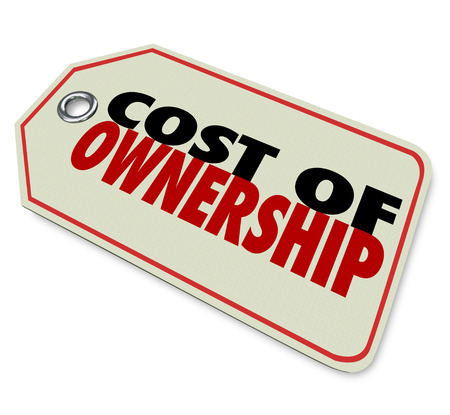 depreciation: Cost of Ownership words on a price tag to illustrate the true investment in a product such as a car with maintenance and depreciation