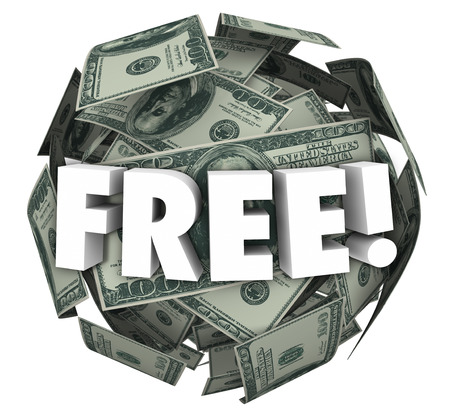 Free word in white 3d letters on a ball or sphere of money or dollars, illustrating a special offer, deal or savings