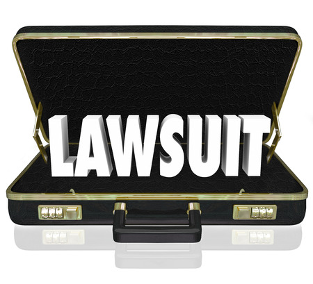 fair trial: Lawsuit 3d word in a black leather briefcase to illustrate a legal court case before a judge or jury argued by a lawyer or attorney