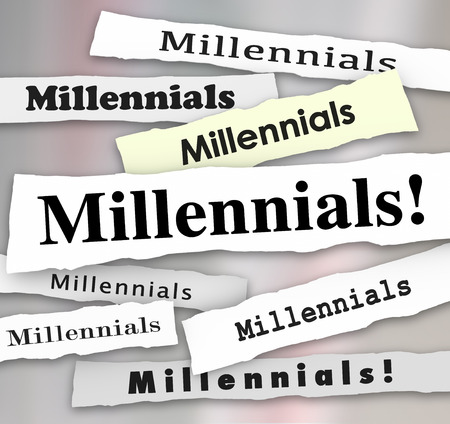 generation y: Millennials word in newspaper headlines to illustrate latest reports, trends and updates on young people in generation Y Stock Photo