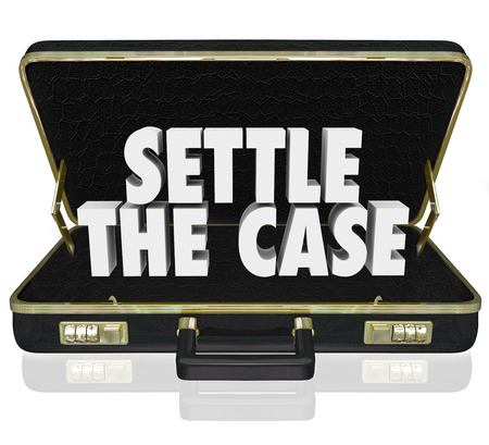 Settle the Case words in white 3d letters in a black leather briefcase to illustrate settling a lawsuit and reaching a conclusion to a challenge Stock Photo