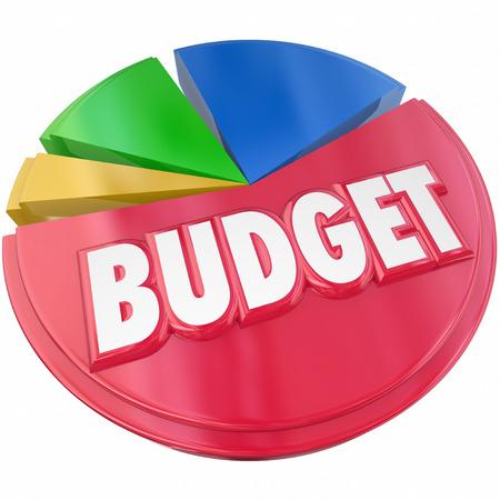 gastos: Orçamento palavra 3d em um gráfico de pizza para ilustrar o planejamento de seus gastos de dinheiro ou de poupança para o controlo financeiro Imagens