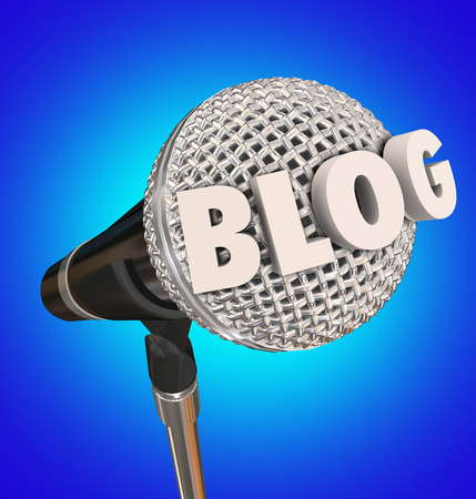 to post: Blog word in 3d letters on a microphone to illustrate an interview or audio report for a program to listen to