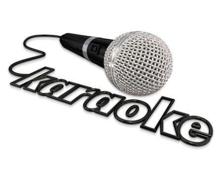 gente cantando: Karaoke palabra en un cable de micr�fono para anunciar o ilustrar un evento divertido con el canto