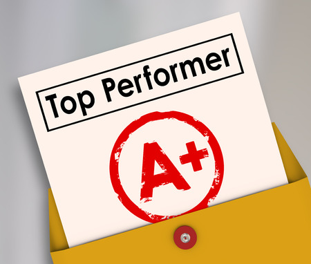 employee: Top Performer and letter grade A Plus stamped on it to illustrate the best score, rating, review or evaluation of a student in school or employee at work