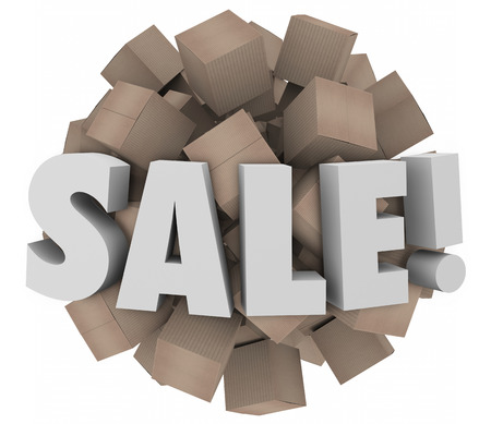 excess: Sale word in 3d letters on a sphere of cardboard boxes to illustrate clearance event of excess inventory or wholesale discounts