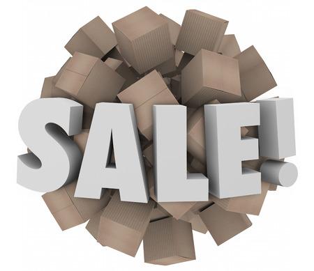 inventario: Venta palabra en letras 3d en una esfera de cajas de cart�n para ilustrar caso de liquidaci�n de exceso de inventario o descuentos al por mayor
