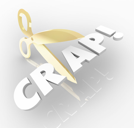 Cut the Crap words with gold scissors reducing waste and inefficiency to increase productivity and efficiencies across your organization photo