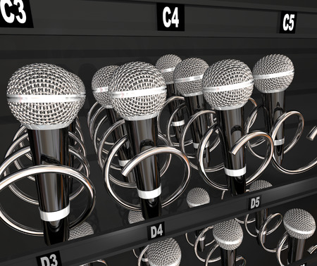 Microphones in a snack or vending machine to illustrate a talent or singing contest, show or competition Фото со стока