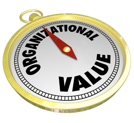 stated: Organizational Value words on a gold compass to illustrate direction and guidance for decision making based on shared mission, goals, ethics and objectives