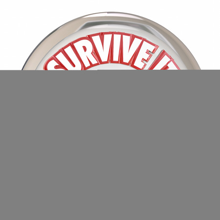 survive: Audit Survive It words on a white shiny button to illustrate preparing with accounting and bookkeeping for an auditor to review your finances, budget or books