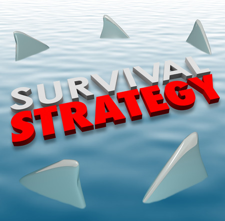 situations: Survival Strategy 3d words on water surrounded by shark fins to illustrate problem solving and risk reduction so survive danger, problems, challenges or bad situations