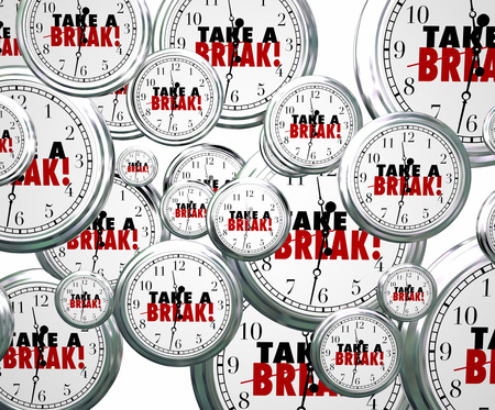 relieved: Take a Break words on 3d clocks flying by to illustrate stopping or pausing work or studies to rest, relax and play