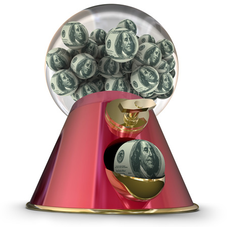 ben franklin money: Money or hundred dollar bills on gum balls dispensed by a machine to illustrate applying for easy credit or loan funding for a purchase