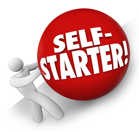 self starter: Self-Starter words on a red ball rolled uphill by a man, worker or entrepreneur working independently to achieve a business goal or objective Stock Photo