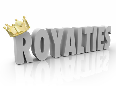 brokerage: Royalties word in white 3d letters and gold crown to illustrate a percent share or commission on earnings, income or profit