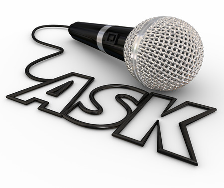 inquiries: Ask word spelled out in letters formed by a microphone cord to illustrate questions and answers, interviews, reporting and a podcast or radio interview