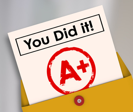 You Did It words on a report card to illustrate a great grade, score, rating or result of a class, test, quiz or training