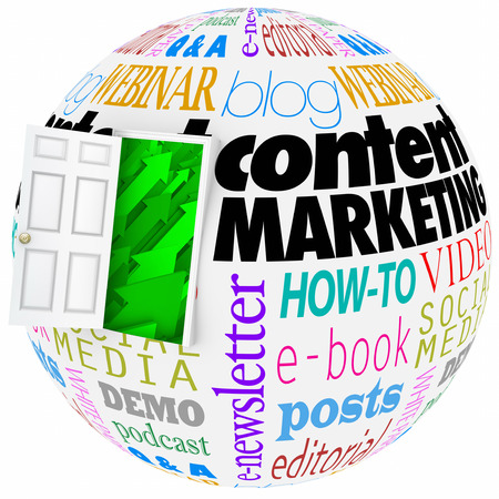 article writing: Content Marketing words on a globe with open door to arrows rising up to illustrate online or website information reaching an audience Stock Photo