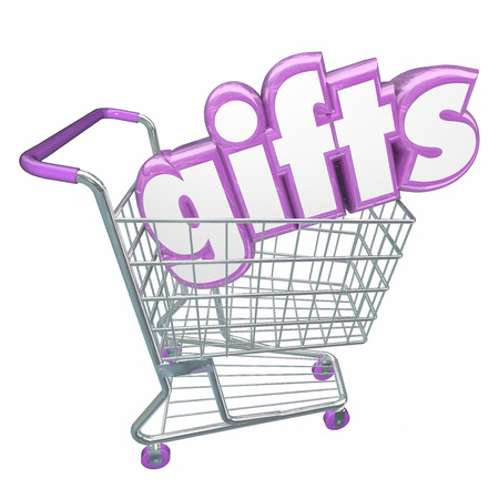 shared sharing: Gifts word in 3d letters in a shopping cart to illustrate a customer buying or choosing merchandise or products at a store or market