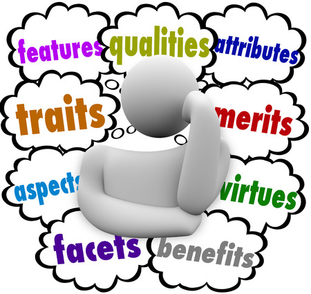 unique characteristics: Features, qualities, attributes, traits, merits, aspects, virtues, facets, benefits words in thought clouds above a thinking person