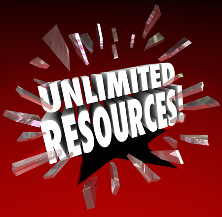 resourceful: Unlimited Resources 3d words breaking through red glass to illustrate vast wealth and endless amounts of money to fund your enterprise, project or venture Stock Photo